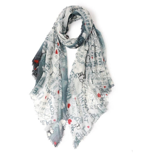 The Heart Belongs Dog Lover Thin Merino Scarves