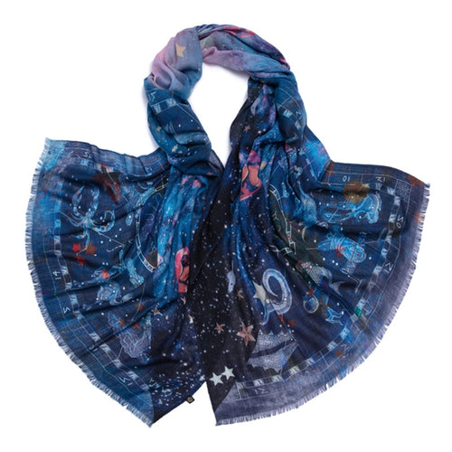 Blue Zodiac Night Sky Thin Pashmina Scarf