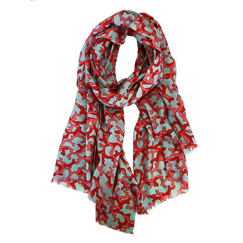 Red Coral Thin Pashmina Scarf