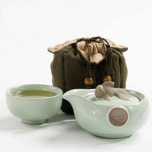 Celadon Green Koi Goldfish Travel Tea Sets 1 Cup