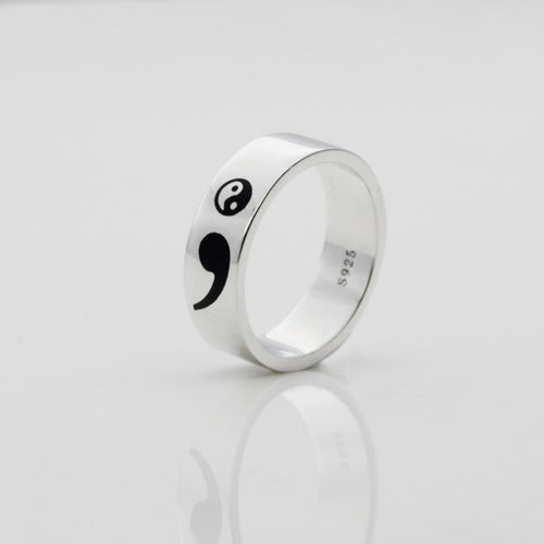 Semicolon Yin Yang Sterling Silver Ring Unisex (My Story Isn't Over Yet - Suicide Depression Awareness)