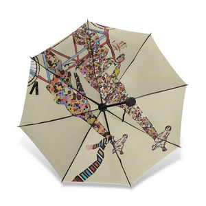 2 Giraffes On A Bicycle Umbrella