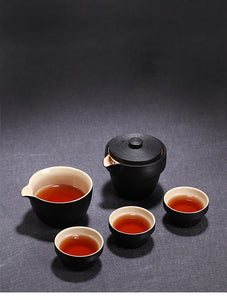 Deluxe Nesting Japanese Ceramic Travel Tea Set for 3