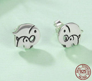 Elephant Mother Child Stud Earrings Sterling Silver