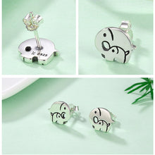 Load image into Gallery viewer, Elephant Mother Child Stud Earrings Sterling Silver