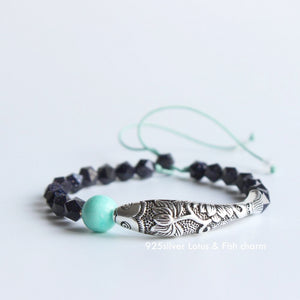 Lucky Lotus Fish Blue Sandstone Amazonite Bracelet S925