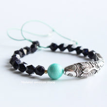 Load image into Gallery viewer, Lucky Lotus Fish Blue Sandstone Amazonite Bracelet S925