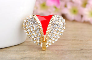 Unzip My Heart Crystal Brooch