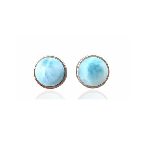 Blue Haze Dome Larimar Cabochon Earrings Sterling Silver