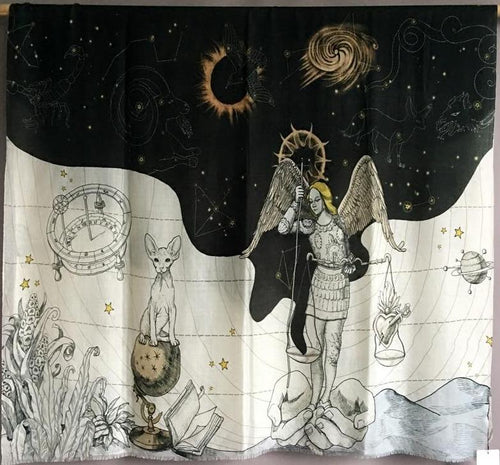 Heavenly Night & Day Star Map Zodiac Alchemical Pashmina Shawl