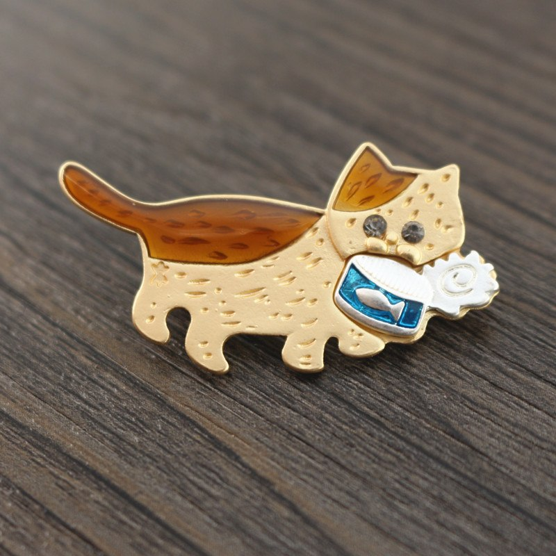 Hungry Can Hunter Cat Collar Pins