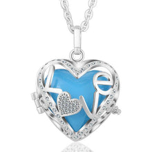 Load image into Gallery viewer, Love Heart Locket Angel Caller Pendant Necklace Silver Plated