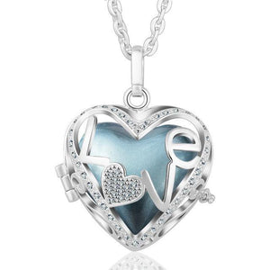 Love Heart Locket Angel Caller Pendant Necklace Silver Plated