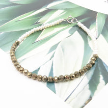 Load image into Gallery viewer, Pyrite & Pearls Seed Bracelet