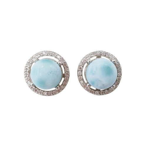 Blue Haze & Sparkle Larimar Cabochon Zircon Sterling Silver Earrings