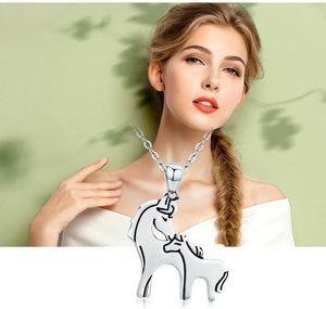 Horse Mother Kiss Pendant Necklace Sterling Silver