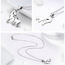 Load image into Gallery viewer, Horse Mother Kiss Pendant Necklace Sterling Silver