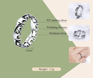 Mother Herd Elephant Family Ring Sterling Silver