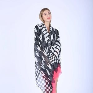 Chevron Geometric Pattern Thin Sheer Winter Cashmere Shawl