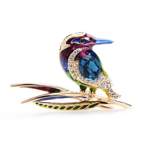 Kingfisher Crystal Rhinestone Brooches