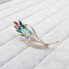 Load image into Gallery viewer, Winter Wheat Rainbow Crystal Rhinestone Brooch
