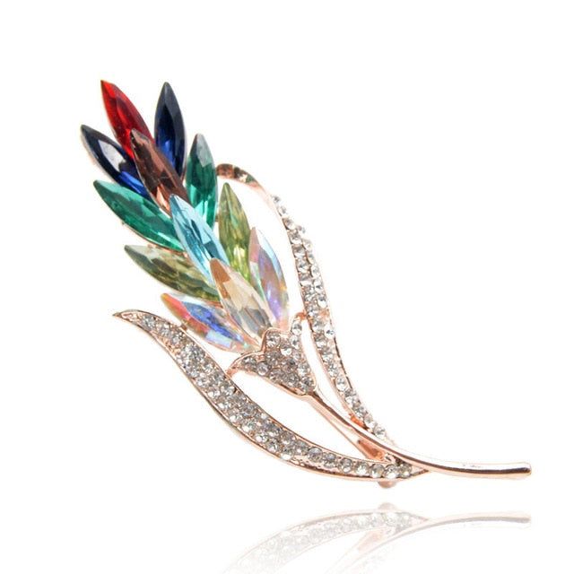 Winter Wheat Rainbow Crystal Rhinestone Brooch