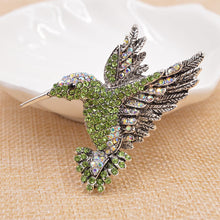 Load image into Gallery viewer, Hummingbird in Flight Rhinestone Brooches