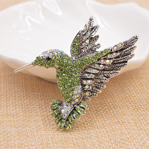 Hummingbird in Flight Rhinestone Brooches