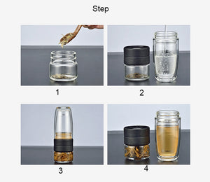 """On the Loose"" Glass Portable Eco Friendly Tea Tumbler"