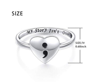 Semicolon Heart Sterling Silver Ring (My Story Isn't Over Yet - Suicide/Depression Awareness)