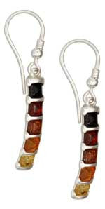 Warming Colour Squares Baltic Amber Sterling Silver Earrings