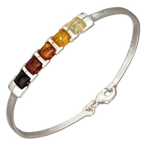 Warming Colour Squares Baltic Amber Sterling Silver Bangle Bracelet