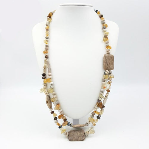 Ancient Sun Citrine Sea Fossil Pebble Necklace