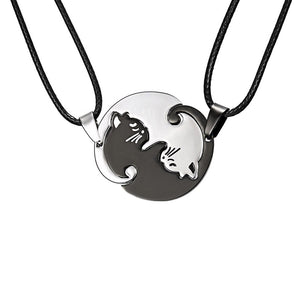 77c81cc719 Yin Yang Cat Couple Puzzle Necklace Set Stainless Steel