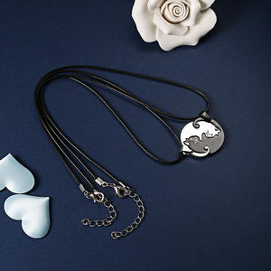 Yin Yang Cat Couple Puzzle Necklace Set Stainless Steel