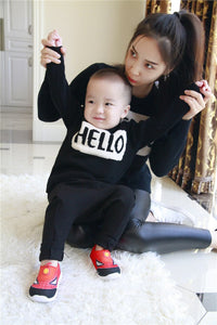 HELLO/BYE Fun Mother & Child Cotton Sweaters