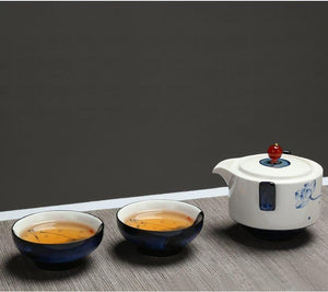 Celadon Blue Porcelain Tea Tureen Travel Sets Two Cup