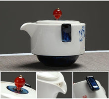 Load image into Gallery viewer, Celadon Blue Porcelain Tea Tureen Travel Sets Two Cup