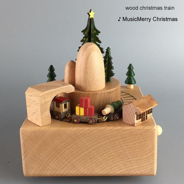 Mini Wooden Train Carousel Music Boxes Gifts For Difficult Mothers