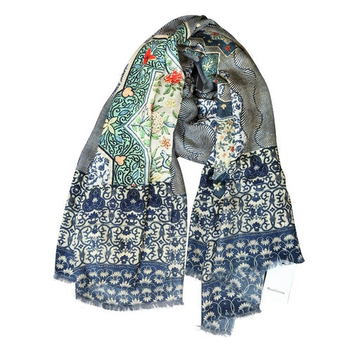 Blue Chinoiserie Porcelain Pattern Cashmere Winter Scarf