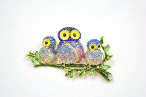 Mama Owl & Babies On A Branch Swarovsky Crystal Brooches