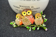 Load image into Gallery viewer, Mama Owl & Babies On A Branch Swarovsky Crystal Brooches