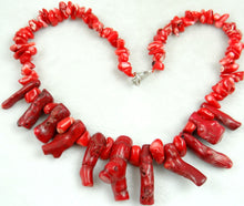 Load image into Gallery viewer, Red Coral Irregular Sweater Necklace