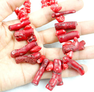 Red Coral Irregular Sweater Necklace