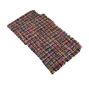 Earth Rainbow Thick Plaid Weave Shawl