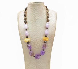 Purple Dawn Amethyst Citrine Smoky Quartz Necklace
