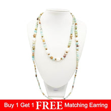 Load image into Gallery viewer, Pebble Beach Amazonite & Pearl Open Wrap Necklace