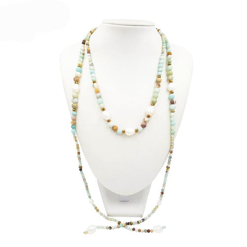 Pebble Beach Amazonite & Pearl Open Wrap Necklace