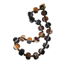 Load image into Gallery viewer, Toffee & Chocolate Banded Brown Onyx Necklace
