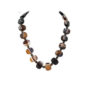 Toffee & Chocolate Banded Brown Onyx Necklace